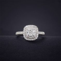 The PERFECT SIZE!!! Cushion Cut Diamond 0.5CT Center Double Halo Ring - LonzeJewelry.com, Diamond Rings and Diamond Jewelry #doublehaloring #diamondjewelry