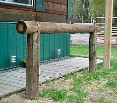 My next project, a hitching rail.  I like the walkway behind this one- keeps it…