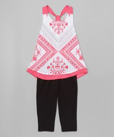 Another great find on #zulily! Hot Pink Geometric Racerback Tank & Leggings - Girls #zulilyfinds