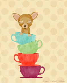 Teacup Chihuahua Kitchen Art Print by thedreamygiraffe on Etsy, $18.00