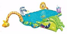 Outdoor Play Equipment Kiddie Pool Inflatable With Slide Sprinkling 6 Activities