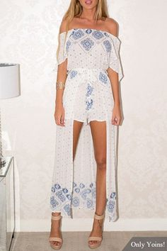 Ethnic Print Off The Shoulder Split Sleeves Maxi Playsuit with Belt  -YOINS