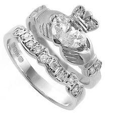 Claddagh wedding engagement ring sets