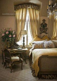 Bed, desk, window layout
