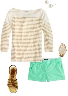 """Bright shorts with a neutral top and comfy Earth """"Crosswind"""" sandals! #summer #outfits"""