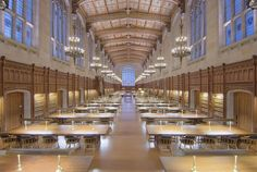 The Most Beautiful Library In All 50 States Michigan: At the University of Michigan Law School, the William W. Cook Legal Library won the AIA Michigan 2011 Design Excellence Awards for its recent restoration and renovation. Modern Library, Library Design, Library Lighting, Cheerleading Pyramids, University Of Michigan, Library University, State University, Architecture Jobs, Architects