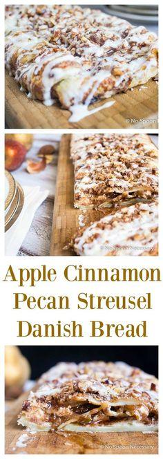 Apple Cinnamon Pecan Cream Cheese Danish Bread - A Spin on Entenmann& Raspberry Danish Twist. Apple Recipes, Sweet Recipes, Baking Recipes, Pecan Recipes, Yummy Recipes, Cinnamon Pecans, Apple Cinnamon, Mini Desserts, Easy Cream Cheese Danish Recipe