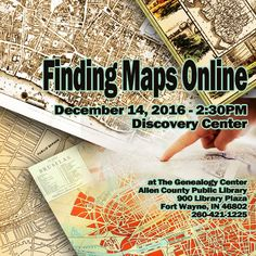 Use Maps Online to find your family's location while doing genealogy. Come Learn about the maps you can find online for free to help find where your ancestors lived.