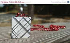 PRICE REDUCED CIJ White Plaid Small A pendant charm by KKMaries, $5.85