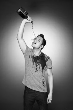 Sebastian Stan Gets Wet. The best way to get drunk is to lick scotch off of Seb.