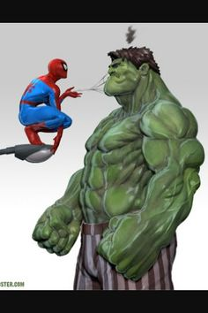 Hulk and Spiderman Hulk Marvel, Spiderman Vs Hulk, Spiderman Kunst, Marvel Fan, Marvel Dc Comics, Comic Book Characters, Marvel Characters, Bodybuilding Memes, Down Syndrom