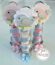 10 tubos golocineros First Communion Favors, Bird Party, Baby Shawer, Ideas Para Fiestas, Jar Gifts, Baby Shower Printables, Baby Birthday, Little Gifts, Birthday Invitations
