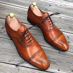 Oxford Brogues Cap Toe Shoes, Leather Shoes For Men, Handmade Leather Shoes - Dress/Formal