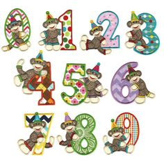 Birthday Sock Monkey Numbers Applique Embroidery Font | Designs by JuJu