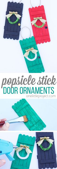These popsicle stick door ornaments are SO cute and such an easy kids ornament craft to make! These popsicle stick door ornaments are SO cute and such an easy kids ornament craft to make! Christmas Ornament Crafts, Christmas Crafts For Kids, Diy Crafts For Kids, Holiday Crafts, Fun Crafts, Christmas Diy, Kids Ornament, Preschool Crafts, Craft Ideas For Adults