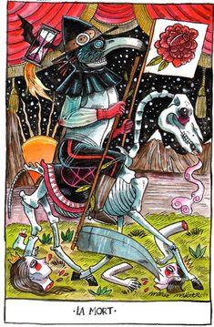 Death, tarot card by marie meier www.fr - If you love Tarot, visit… Xiii Tarot, True Tarot, Tarot Death, Tarot Tattoo, Tarot Major Arcana, Play Your Cards Right, Tarot Readers, Oracle Cards, Occult
