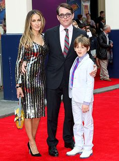 SJP, Matthew Broderick and their son James. Missing is twin daughter's Tabitha and Marion