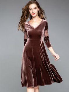 Solid Color V-Neck Seven-Tenths Sleeves A-Line Dresses Prom Dresses, Summer Dresses, Formal Dresses, Dresses Dresses, Dance Dresses, Fashion Online, Fashion Show, 80s Fashion, Fashion Ideas