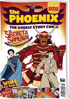 In this issue: Bunny vs Monkey, Board Games (Ninja Style), Corpse Talk (featuring Hattori Hanzo), The Dangerous Adventures of Von Doogan, Gary's Garden, How to Make Awesome Comics, Phictionary, Phoenix Feature (Julius Chancer: Secret of the Samurai), Simon Swift, Troy Trailblazer. #ThePhoenixComic #JuliusChancer