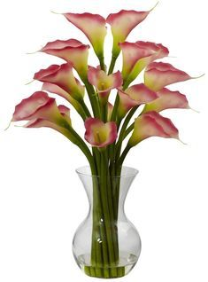 Some people like exotic and some people like classic. And if you're one of those people that wants a little of both, this Galla Calla Lily with Vase Arrangement fits the bill and then some. Size: Galla Calla Lily W/Vase Arrangement - Pink. Modern Flower Arrangements, Silk Floral Arrangements, Vase Arrangements, Deco Floral, Arte Floral, Calla Lillies, Calla Lily, Lilies, Faux Flowers