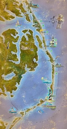 Tourist map of the Outer Banks region of North Carolina. Spans from Ocracoke, NC to Carrituck, NC.