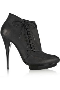 McQ Alexander McQueen Lace-detailed oiled-leather ankle boots | THE OUTNET