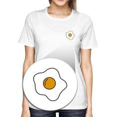 Fried Egg Pocket T-shirt Back To School Tee Ladies Cute Shirt