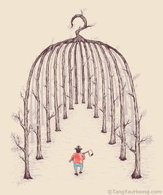 Tang Yau Hoong is an artist, illustrator and graphic designer living in Kuala Lumpur, Malaysia. He is known for his fascinating negative space Art And Illustration, Art Illustrations, Creative Illustration, Tang Yau Hoong, Negative Space Art, Space Artwork, Bird Cages, You Draw, Optical Illusions