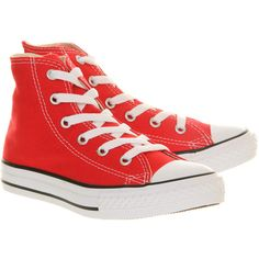 Converse All Star Hi Mid Sizes ($46) ❤ liked on Polyvore featuring shoes, sneakers, converse, red, converse footwear, converse shoes, red sneakers, red shoes and red canvas sneakers