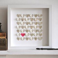 diy framed heart art
