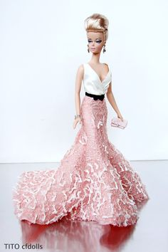 silk stone Barbie in pink dress