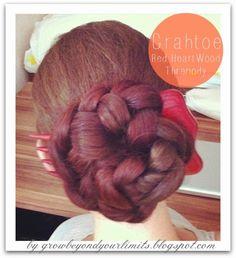 Grahtoe : A red heart braid, braided bun , hair fork
