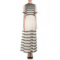 Ivory Lace Stripe Dress Stripe Dress, Design Design, Fashion Inspiration, Ivory, Lace, Dresses, Vestidos, Striped Dress Outfit, Fringe Dress