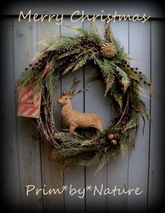 Primitive Reindeer Christmas Wreath Pine Cones Red Berries and Rusty Bells