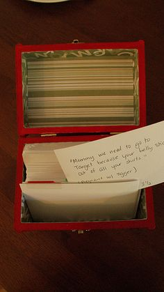 Memory Box. holds index cards with quotes from your kids...