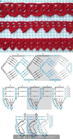 """#Crochet_Stitches - """"Beautiful edgings for the holidays. So pretty and they're all worked from the short side so you just keep going until you have enough!"""" 4U from #KnittingGuru"""