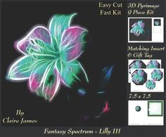 Fantasy Spectrum Floral Gorgeous Lilly 3 Insert Tag on Craftsuprint - Add To Basket!