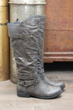 Image of Grey Vegan Leather Boots with Buckle Detail