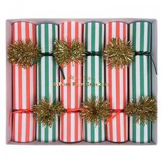 Striped Pom Pom Christmas Crackers by Meri Meri