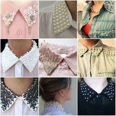 Golas variadas Collar Designs, Sleeve Designs, Blouse Designs, Fashion Details, Diy Fashion, Fashion Design, Embroidery Fashion, Beaded Embroidery, Artisanats Denim