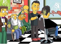 #simpsonshair Dope Cartoons, Dope Cartoon Art, Barber Man, Barber Chair, Barber Pictures, Zayn Malik Style, Barber Tattoo, Barber Shop Decor, Kids Cuts