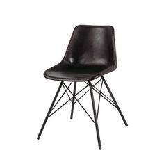 Chaise indus en cuir et métal noire
