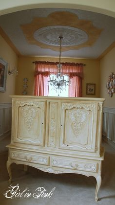 French Style Liqueur Cabinet Makeover in Chalk Paint® Decorative Paint, Old Ochre and Old White with Clear and Dark Wax