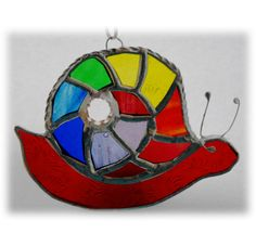 Snail Suncatcher Stained Glass Handmade Rainbow 010 £13.00 All The Colors, Different Colors, Green Bodies, Glass Texture, Suncatchers, Snail, Rainbow Colors, Stained Glass, My Design