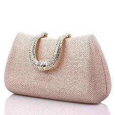 Wiseup® Damen Kristalle Strass Hartschalenkoffer Kupplung Abendtasche Parteihandtascheprom urse (champagner)