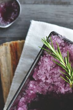 MOROCCAN MINT TEA & HIBISCUS GRANITA ~~~ the rosemary sprig in the above photo is placed there by an out of control food stylist... the ingredients of this share are mint, honey, water, and hibiscus syrup. [food52]