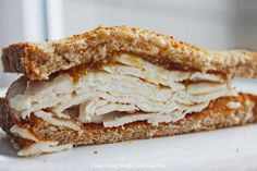 Healthy lunch idea: Turkey Sandwich with Toasted Whole Wheat Bread, All-Natural Turkey Breast, Olive Oil Mayo and Organic Fig Preserves (from Clean Eating Weight Loss Meal Plan Clean Eating Diet Plan, Clean Eating Recipes, Easy Healthy Recipes, Real Food Recipes, Healthy Meals, Healthy Eating, Slow Carb Diet, Weight Loss Meal Plan, Meal Planning