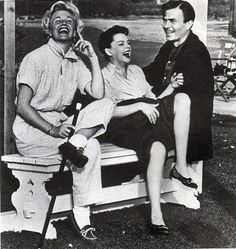 Doris Day visiting with Judy Garland and James Mason on their Warner Brothers set for A Star Is Born (1954)