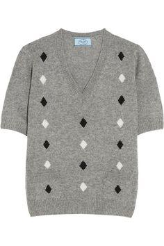 Prada   Diamond intarsia cashmere sweater   NET-A-PORTER.COM