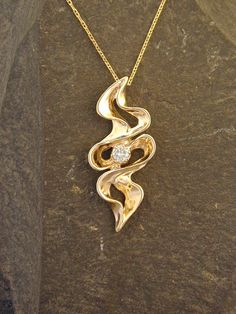14K Gold Pendant with Fine Diamond on a 14K Gold by peteconder